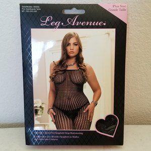 Leg Avenue Seamless Crochet Net Body-stocking Plus